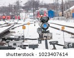train blue traffic light... | Shutterstock . vector #1023407614