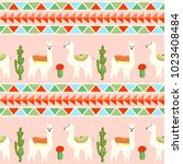 seamless pattern with cute... | Shutterstock .eps vector #1023408484