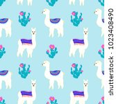 seamless pattern with cute... | Shutterstock .eps vector #1023408490