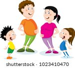 fat family cartoon flat design... | Shutterstock .eps vector #1023410470