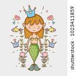 little mermaid art cartoon | Shutterstock .eps vector #1023411859