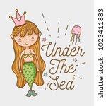 little mermaid art cartoon | Shutterstock .eps vector #1023411883