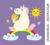 cute unicorn card series.... | Shutterstock .eps vector #1023413128