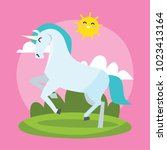 cute unicorn card series.... | Shutterstock .eps vector #1023413164