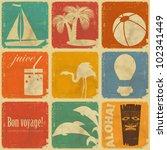 set of vintage travel labels  ... | Shutterstock .eps vector #102341449