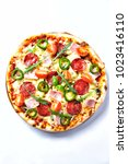 pizza with salami  ham  cherry... | Shutterstock . vector #1023416110