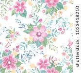 floral seamless pattern. flower ... | Shutterstock .eps vector #1023418210