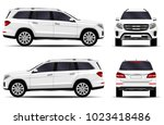 realistic suv car. front view ... | Shutterstock .eps vector #1023418486