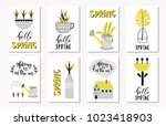 set of spring cards with plants ... | Shutterstock .eps vector #1023418903