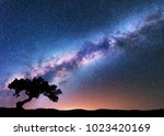 milky way with alone old... | Shutterstock . vector #1023420169
