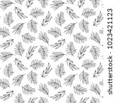 botanical hand drawn seamless... | Shutterstock .eps vector #1023421123