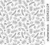 botanical hand drawn seamless... | Shutterstock .eps vector #1023421129