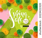 spring sale background with... | Shutterstock .eps vector #1023422320