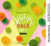 spring sale banner design ... | Shutterstock .eps vector #1023422323