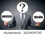businessman chooses between... | Shutterstock . vector #1023429730