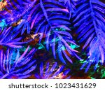 neon abstract hand painted... | Shutterstock . vector #1023431629