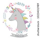 cute unicorn with flowers | Shutterstock .eps vector #1023431989