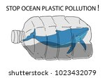 stop ocean plastic pollution... | Shutterstock .eps vector #1023432079