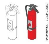 fire extinguisher in both full... | Shutterstock .eps vector #1023432583