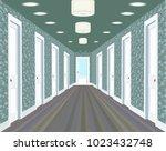 long corridor with rows of... | Shutterstock .eps vector #1023432748