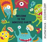 monster party. invitation card... | Shutterstock .eps vector #1023441289