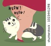 happy fluffy fat cat... | Shutterstock .eps vector #1023441298