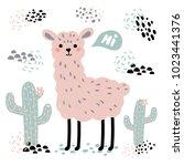 pink lama alpaca with hi text ... | Shutterstock .eps vector #1023441376