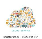 business icons are grouped in... | Shutterstock .eps vector #1023445714