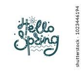 hello spring. cute creative... | Shutterstock .eps vector #1023446194