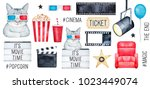 big cinema set with cute funny... | Shutterstock . vector #1023449074