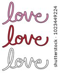 red and pink love lettering | Shutterstock .eps vector #1023449224