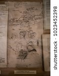 Small photo of Moscow, Russia - August 2017: Detail - Manuscript and Drawings of Alexander Pushkin - Interior of The Alexander Pushkin Memorial Museum in Moscow