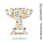 business icons are grouped in... | Shutterstock .eps vector #1023454720