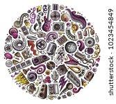 set of vector cartoon doodle... | Shutterstock .eps vector #1023454849