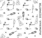love symbols seamless pattern.... | Shutterstock .eps vector #1023460738
