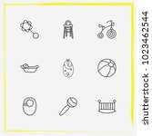 baby care line icon set rattles ... | Shutterstock .eps vector #1023462544