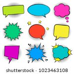 set of empty retro colorful... | Shutterstock .eps vector #1023463108
