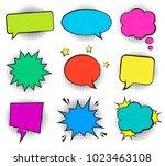 set of empty retro colorful... | Shutterstock .eps vector #1023463108
