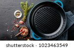 frying pan cast iron for... | Shutterstock . vector #1023463549
