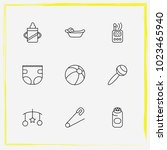 baby care line icon set handing ... | Shutterstock .eps vector #1023465940