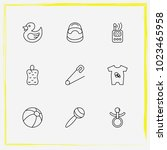 baby care line icon set rubber... | Shutterstock .eps vector #1023465958