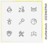 baby care line icon set buggy ... | Shutterstock .eps vector #1023465964