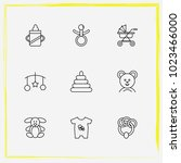 baby care line icon set rattle  ... | Shutterstock .eps vector #1023466000