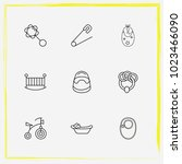 baby care line icon set... | Shutterstock .eps vector #1023466090