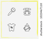 baby care line icon set baby... | Shutterstock .eps vector #1023467110