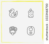 baby care line icon set rattle  ... | Shutterstock .eps vector #1023468700