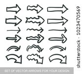 different black arrows icons ...   Shutterstock .eps vector #1023470569