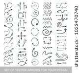 different black arrows icons ...   Shutterstock .eps vector #1023470740