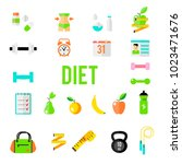 fitness and sport vector icons... | Shutterstock .eps vector #1023471676