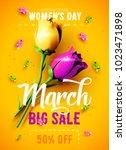 8 march sale flyer.... | Shutterstock .eps vector #1023471898